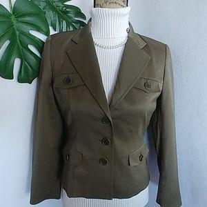 Talbots Olive Green Nylon Blazer Jacket